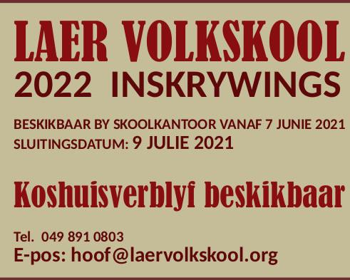 2022 Inskrywings nou oop